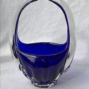 VTG Murano Cobalt Blue Hand Blown Crystal Basket
